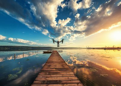 Image of drone over the lake, sunset shot